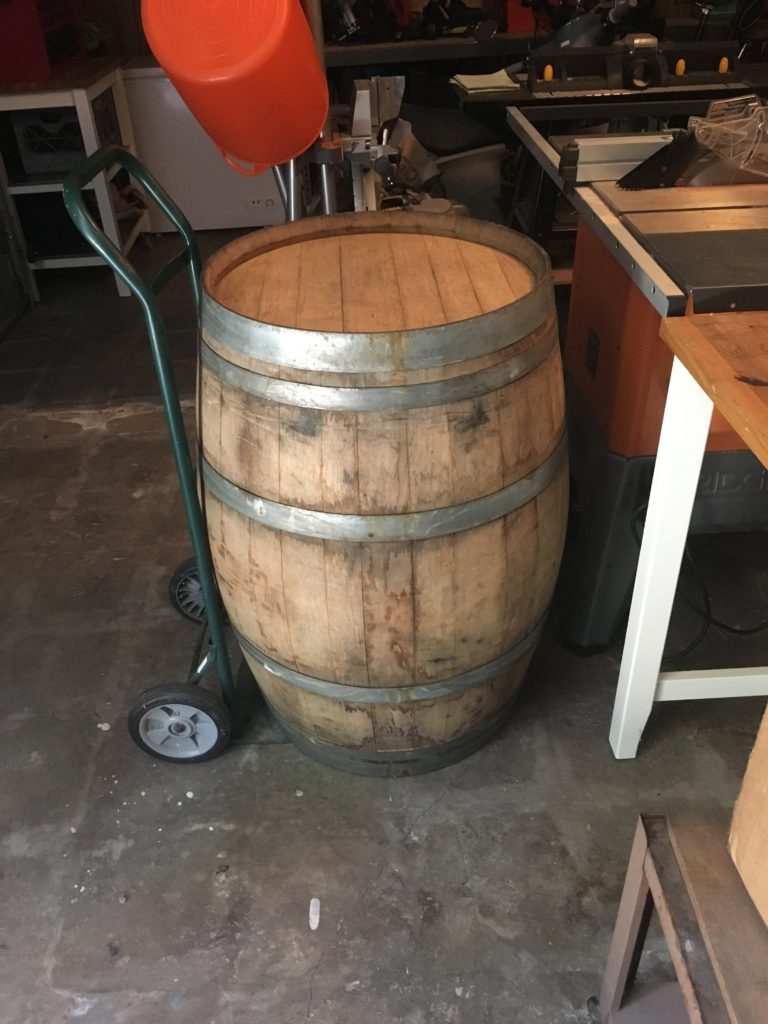 Barrel on the hand cart